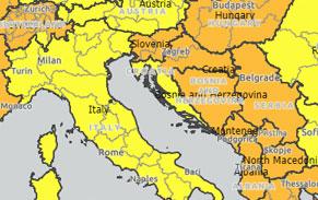 udenrigsministeriet, kort, gule land og regioner, kroatien