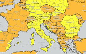 udenrigsministeriet, kort, gule land og regioner, italien