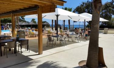 Restaurant, strandbar og minimarked