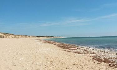 Børnevenlig sandstrand og vandlegeplads