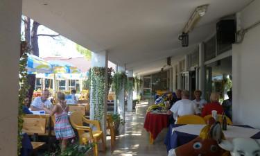 Restaurant, isbutik, strandbar og pizzeria